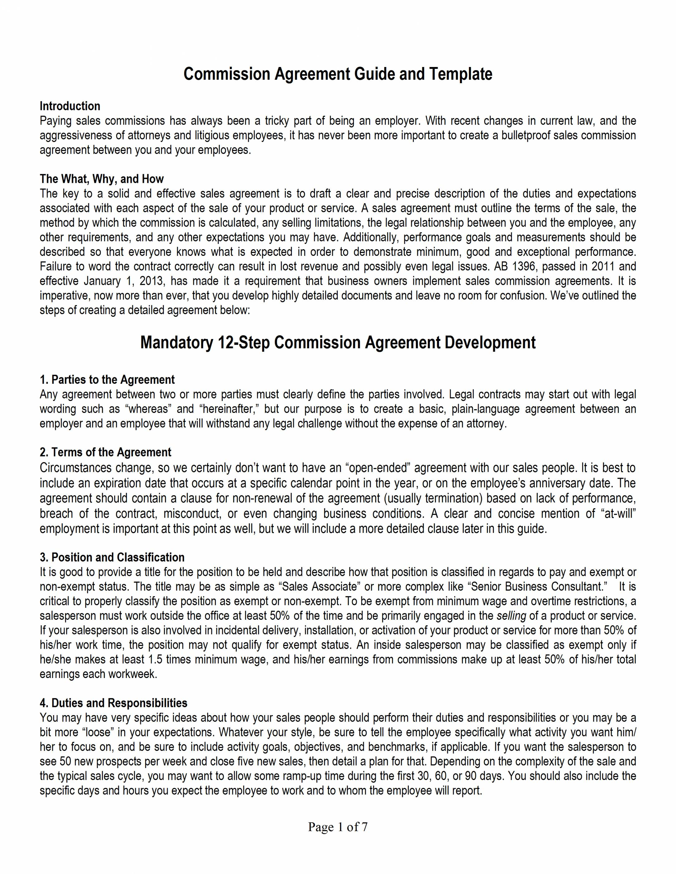 Sales Commission Agreement Template Uk
