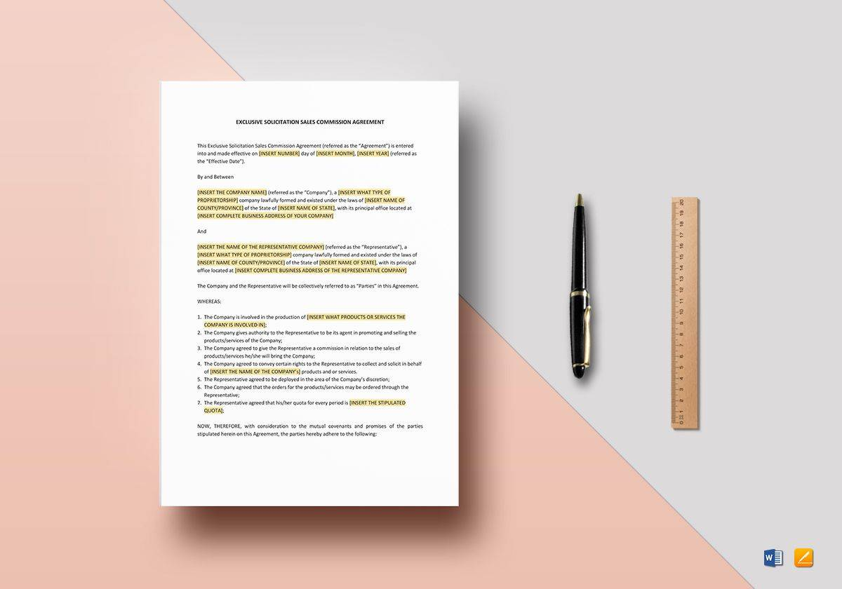 Sales Commission Agreement Template Word