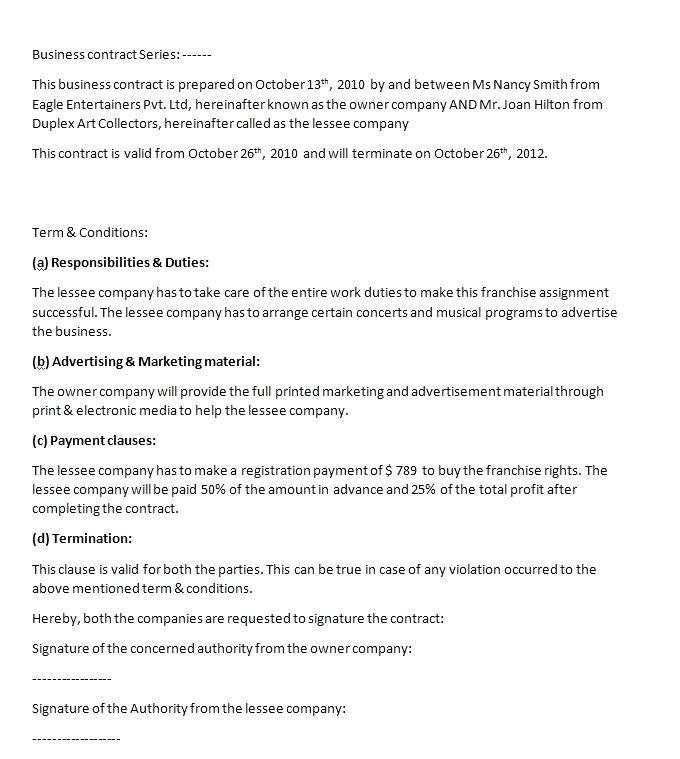 Sales Contract Terms And Conditions Template
