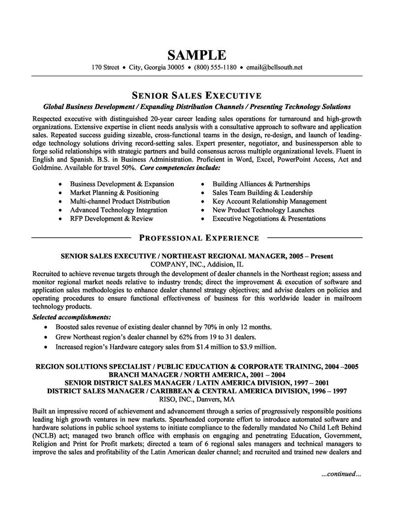 Sales Executive Cv Template