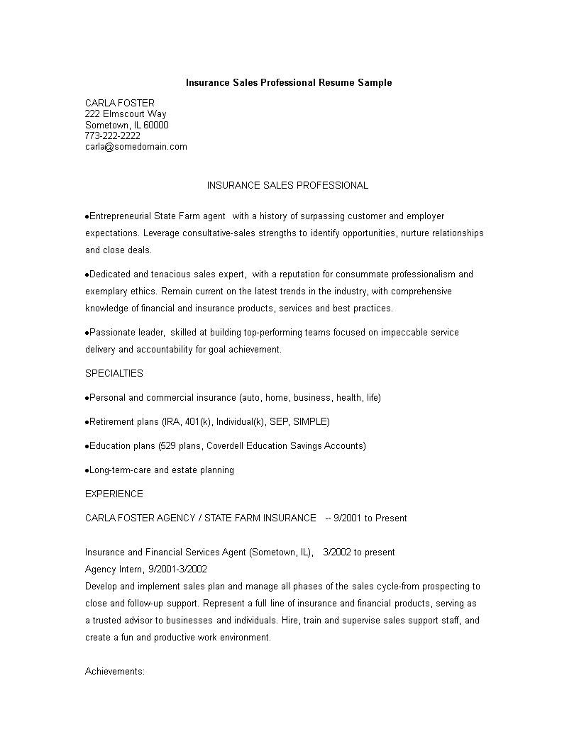 Sales Executive Resume Template Free