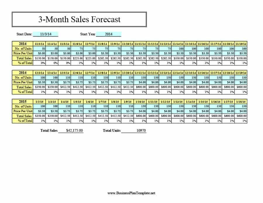 Sales Forecast Template 3 Years