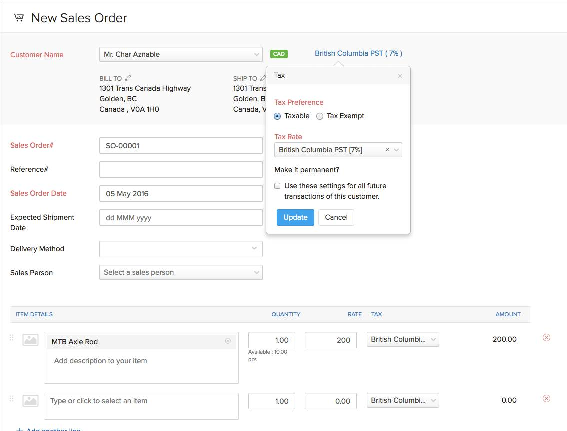 Sales Invoice Template Canada