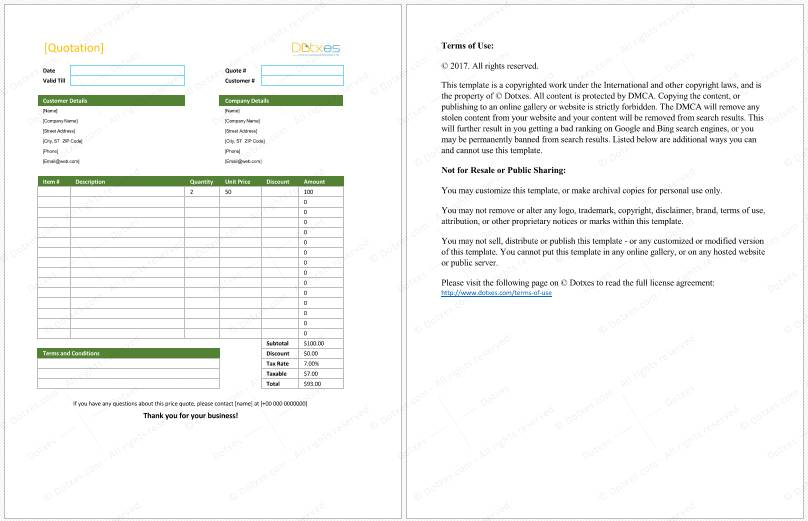 Sales Quotation Template