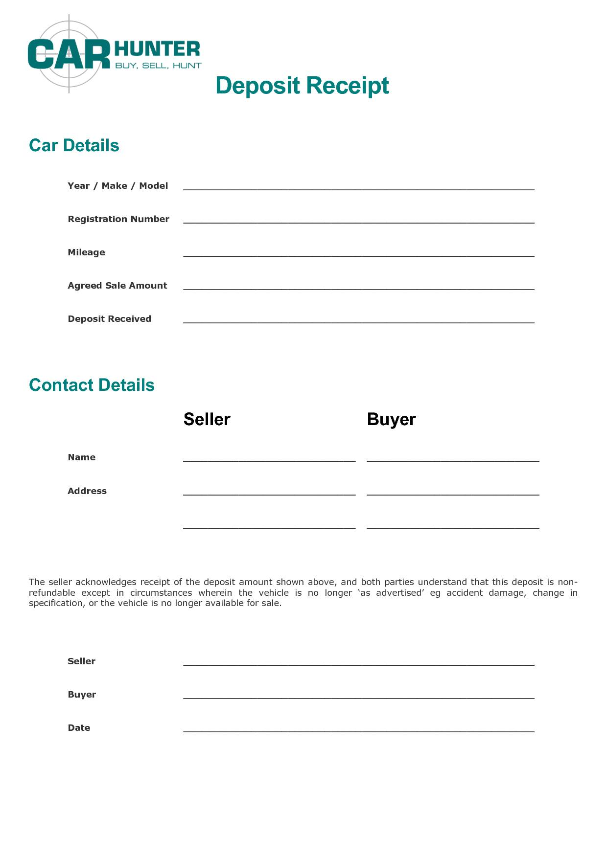 Sales Receipt Template For Used Car