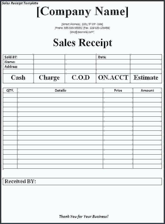 Sales Receipt Template Google Docs