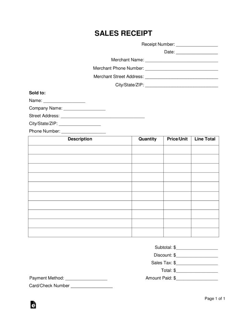 Sales Receipt Template Pdf Free