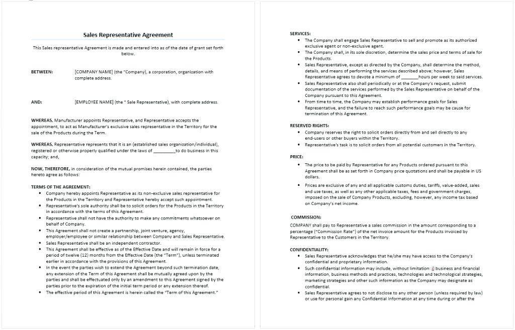 Sales Representative Agreement Sample Contract