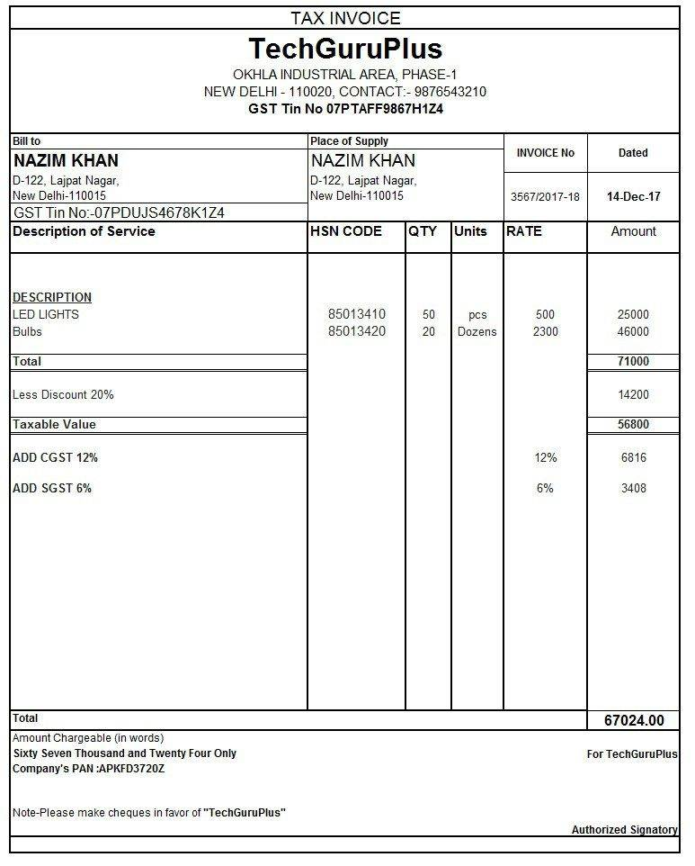Sales Tax Invoice Template Excel