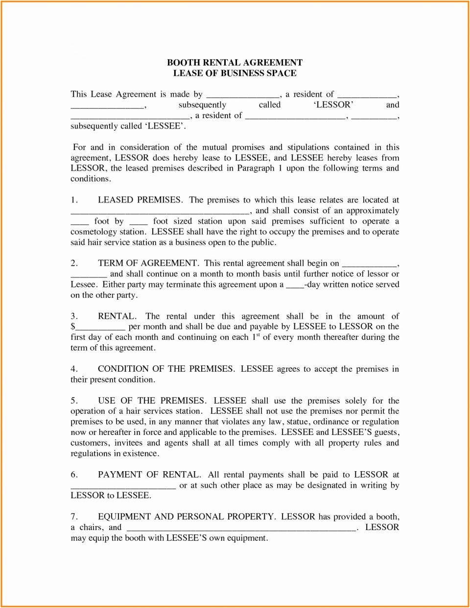 Salon Booth Rental Agreement Template Free