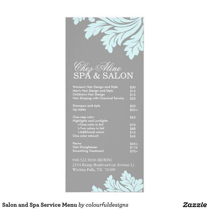 Salon Menu Templates Free Download