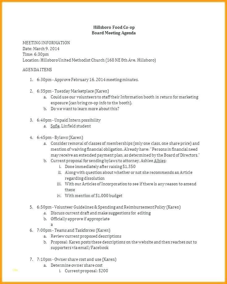 Sample Agenda For Board Meeting Template
