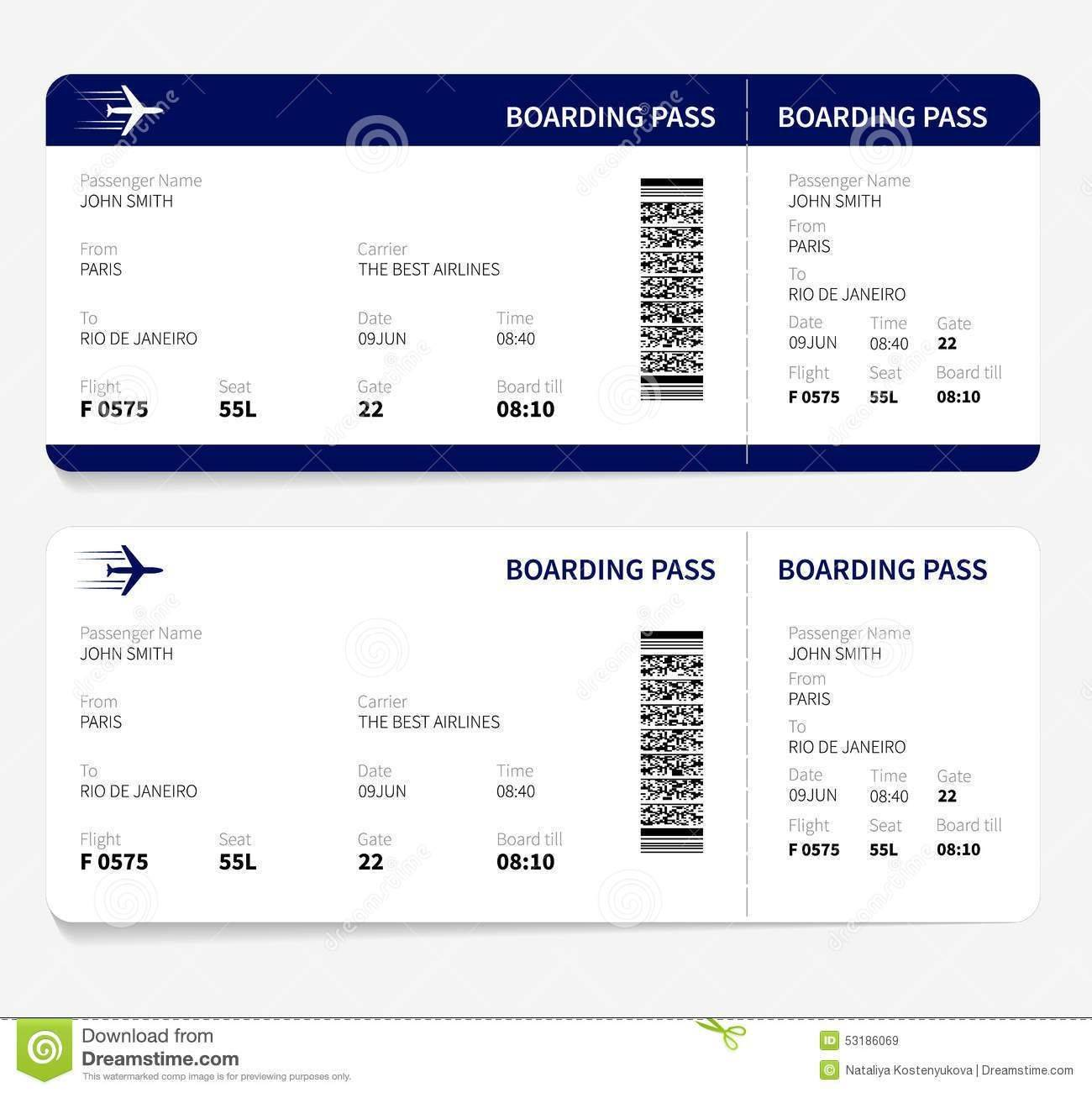 Sample Airline Ticket Template