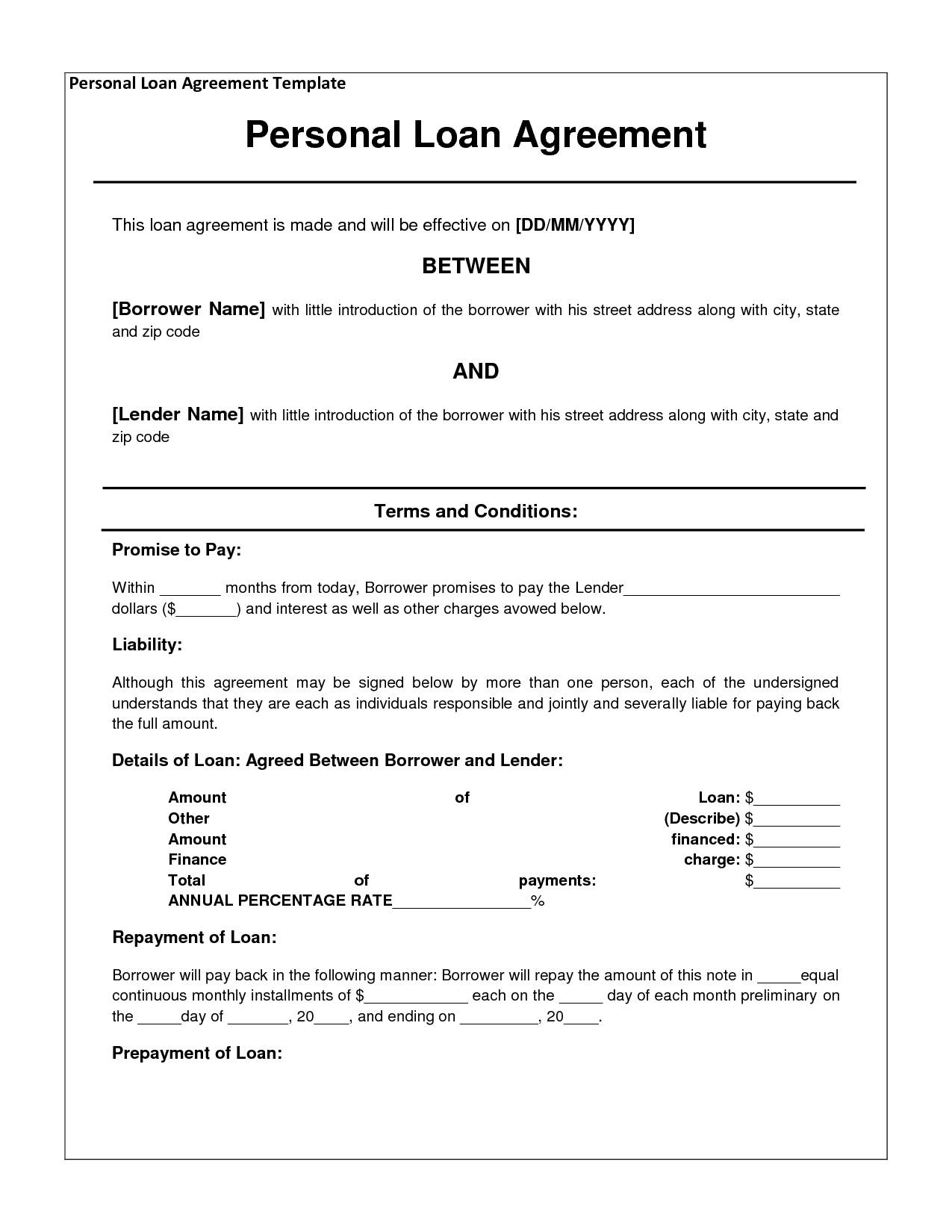 Sample Business Loan Agreement Template
