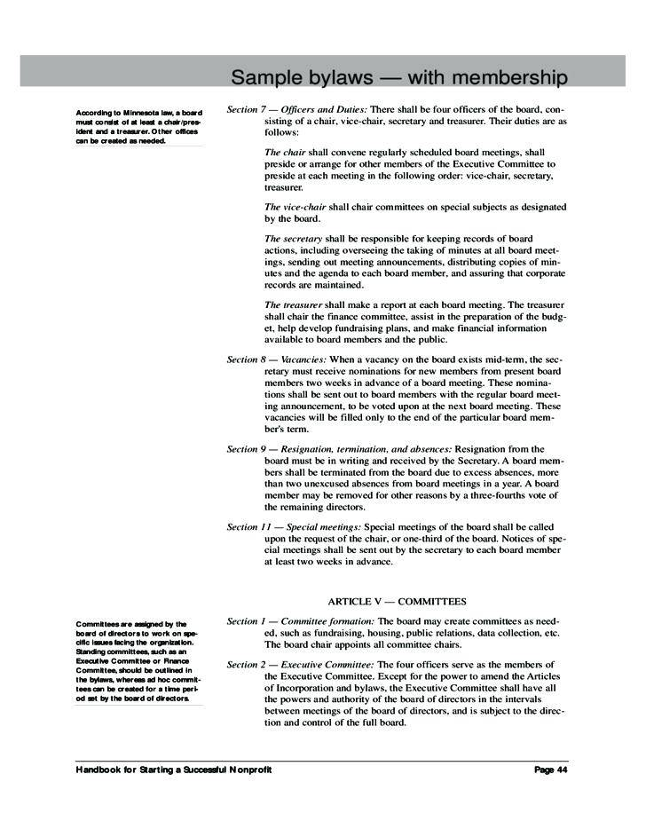 Sample Bylaws Template For Nonprofit Organization
