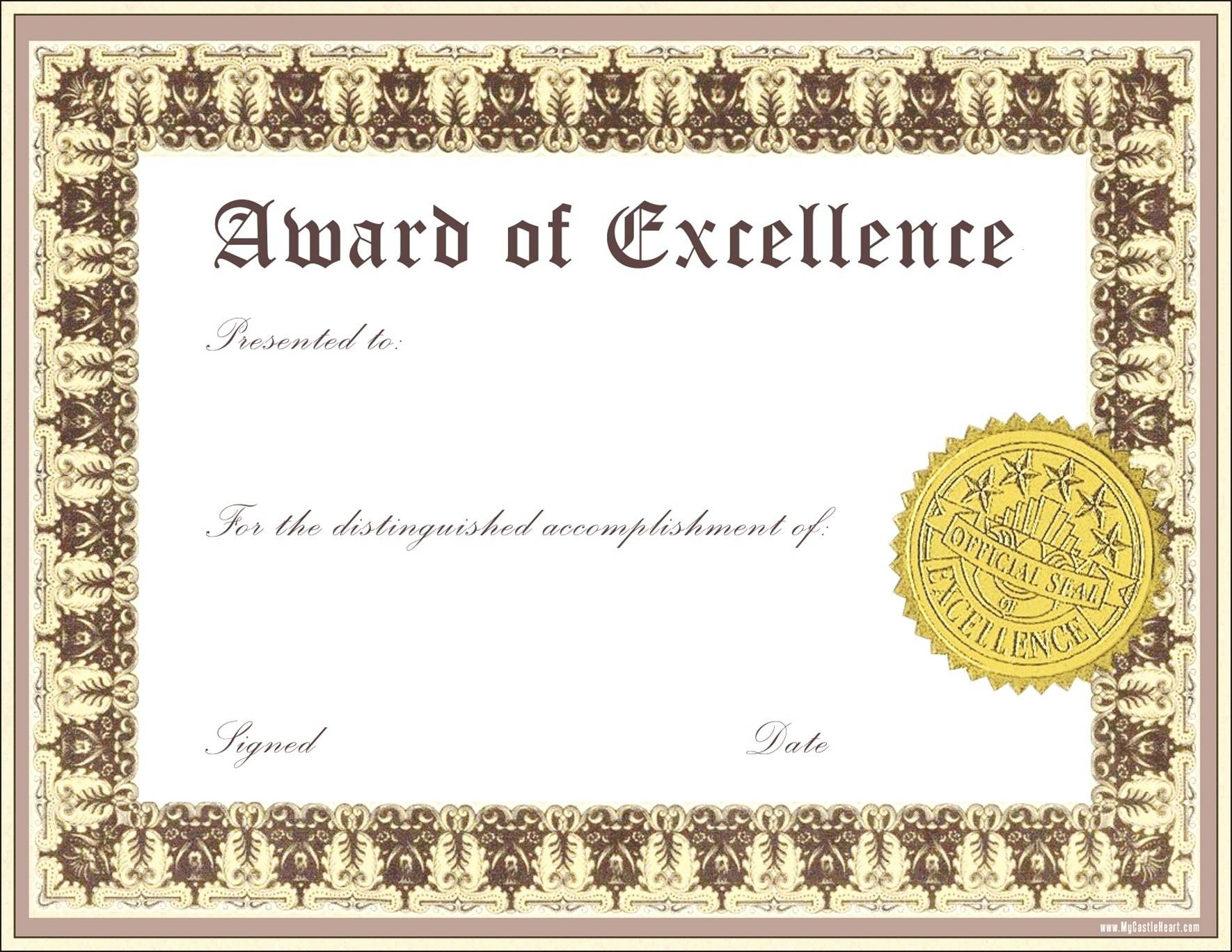 Sample Certificate Of Achievement Templates