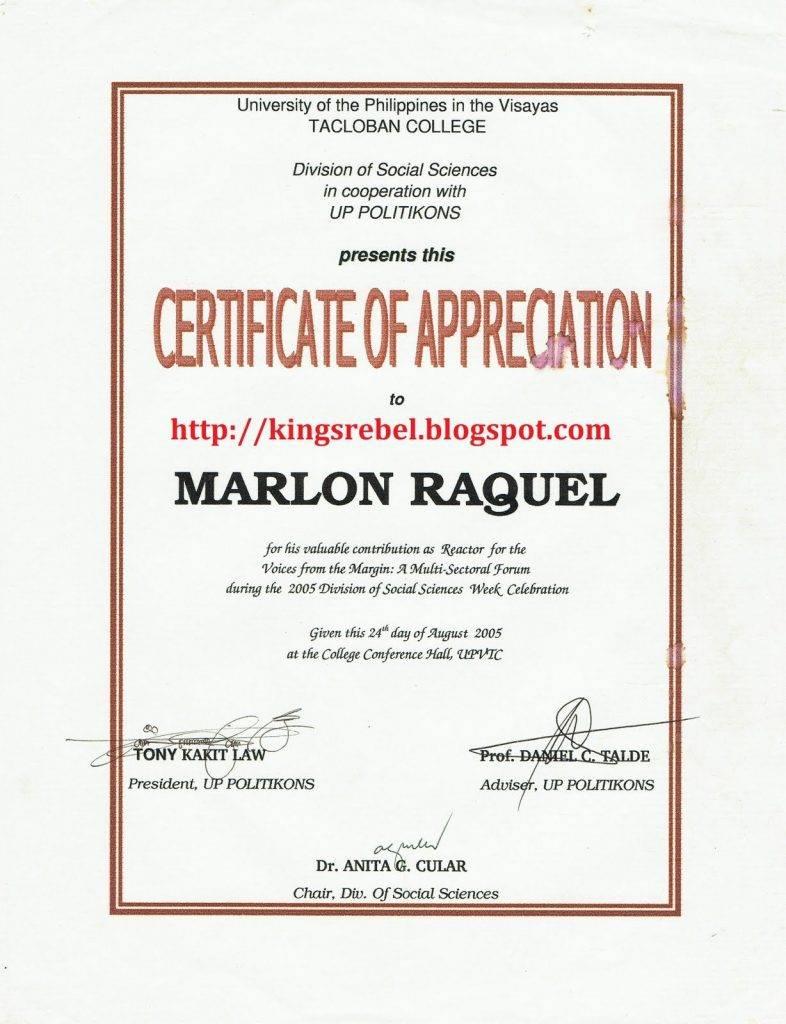 Sample Certificate Of Appreciation For Brigada Eskwela