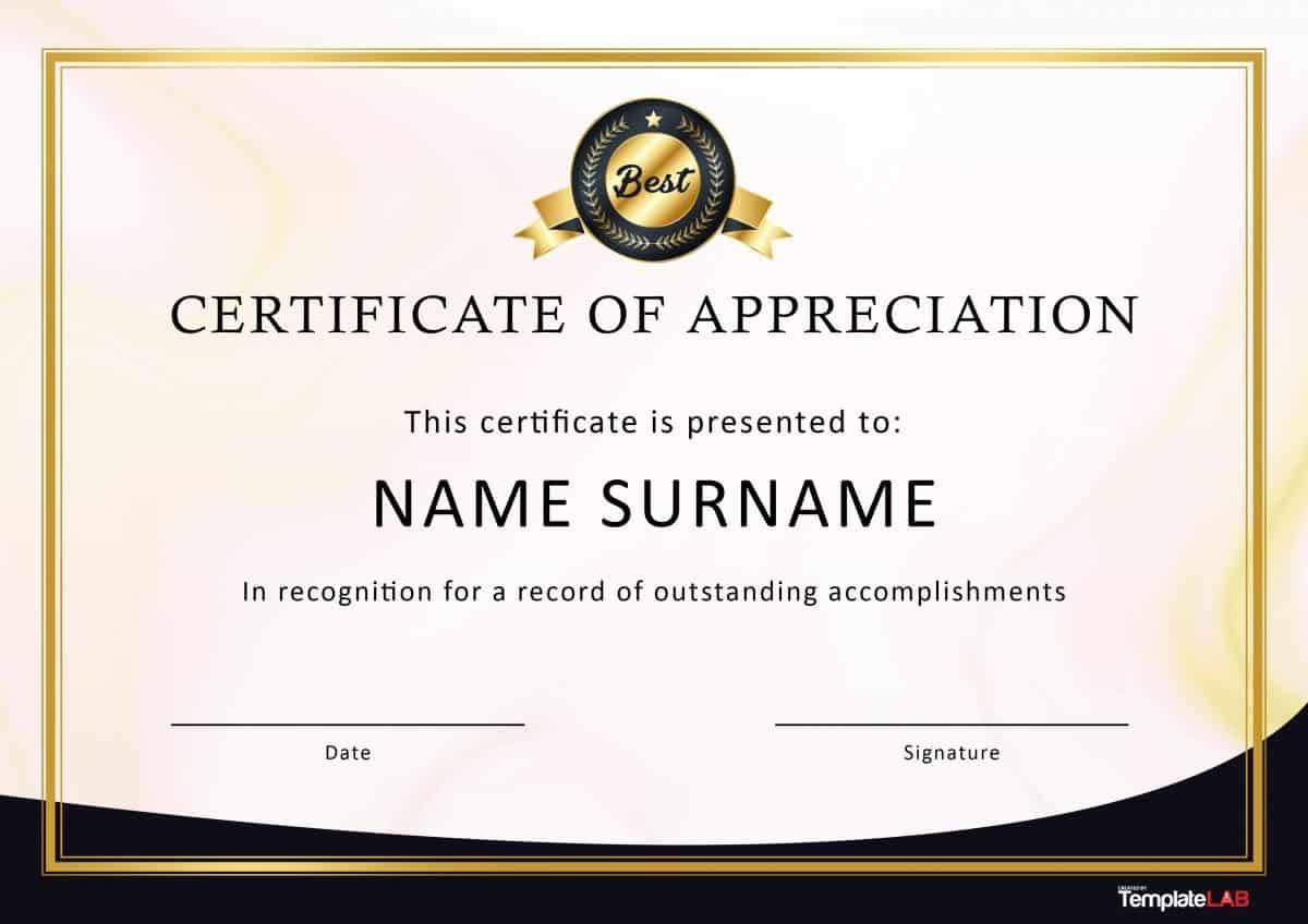 Sample Certificate Of Appreciation For Facilitator