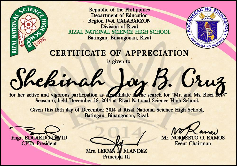 Sample Certificate Of Appreciation For Judges In A Pageant