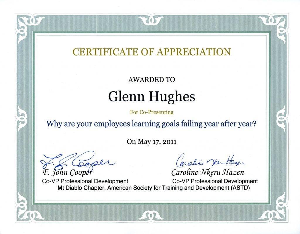 Sample Certificate Of Appreciation For Resource Speaker