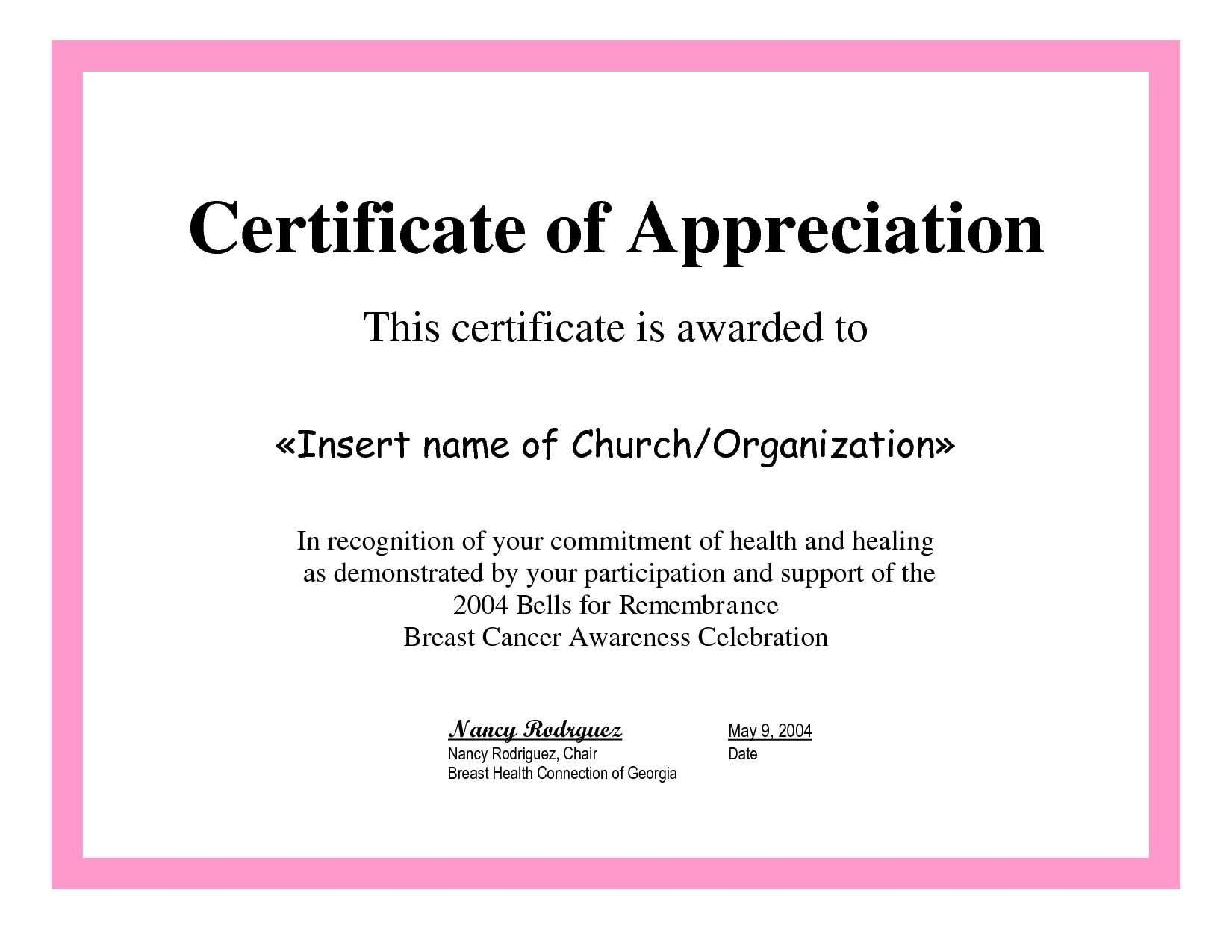 Sample Certificate Of Appreciation For Teachers