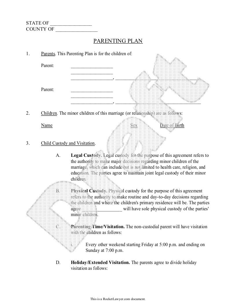 Sample Child Custody Agreement Template