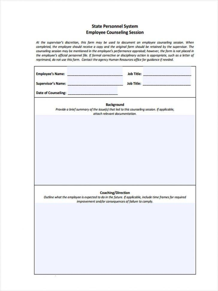 Sample Coaching Forms For Employees
