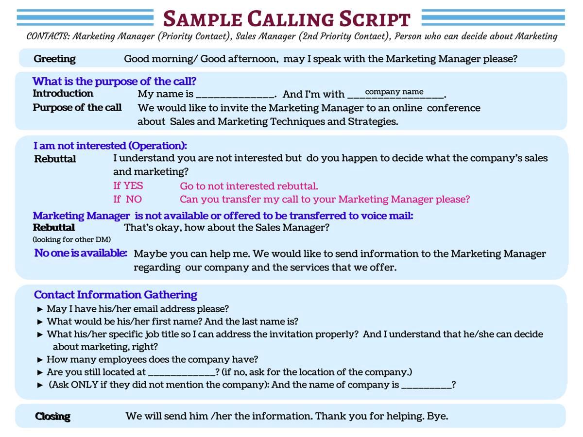 Sample Cold Calling Script Template