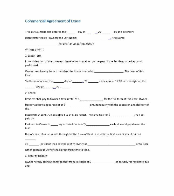 Sample Commercial Lease Template