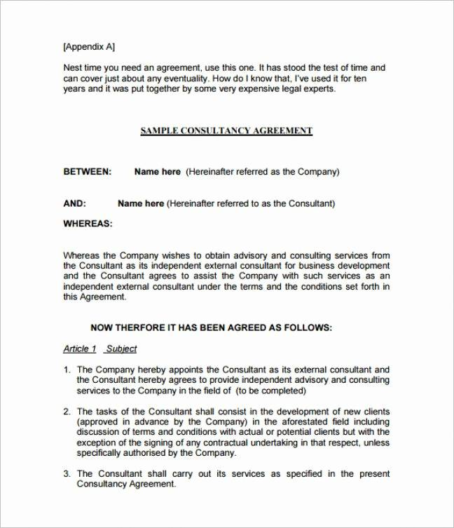 Sample Consultant Agreement Template