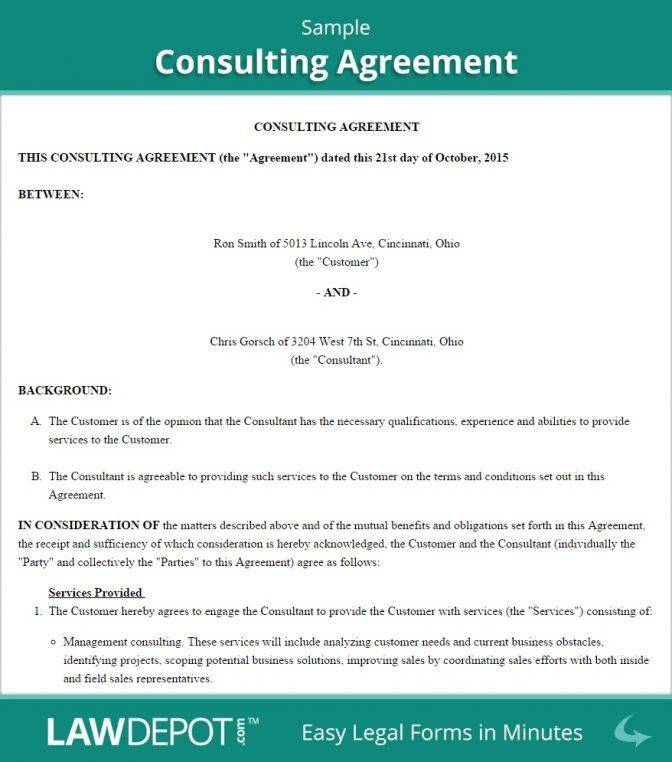 Sample Consulting Agreement Template