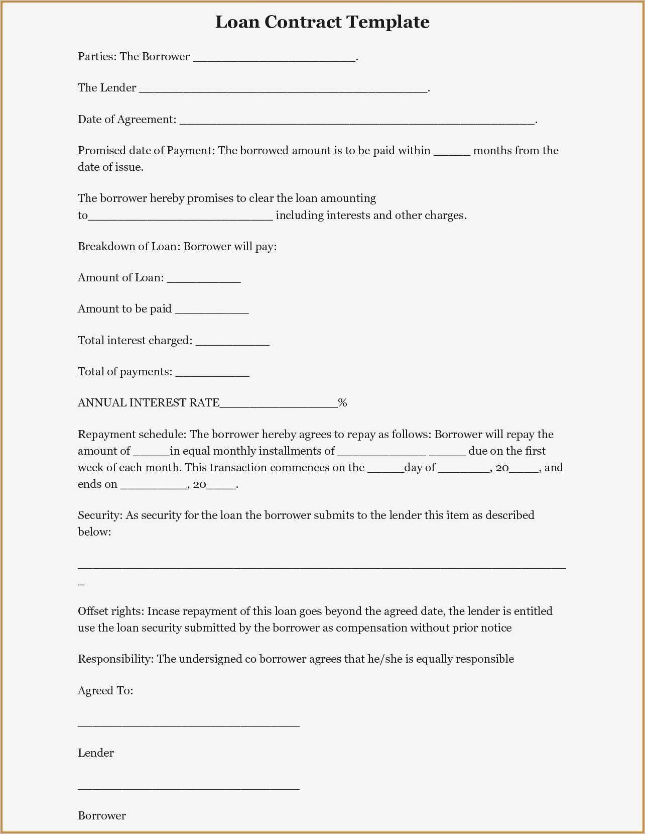 Sample Contract Of Loan Template