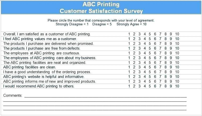 Sample Customer Satisfaction Survey Restaurant