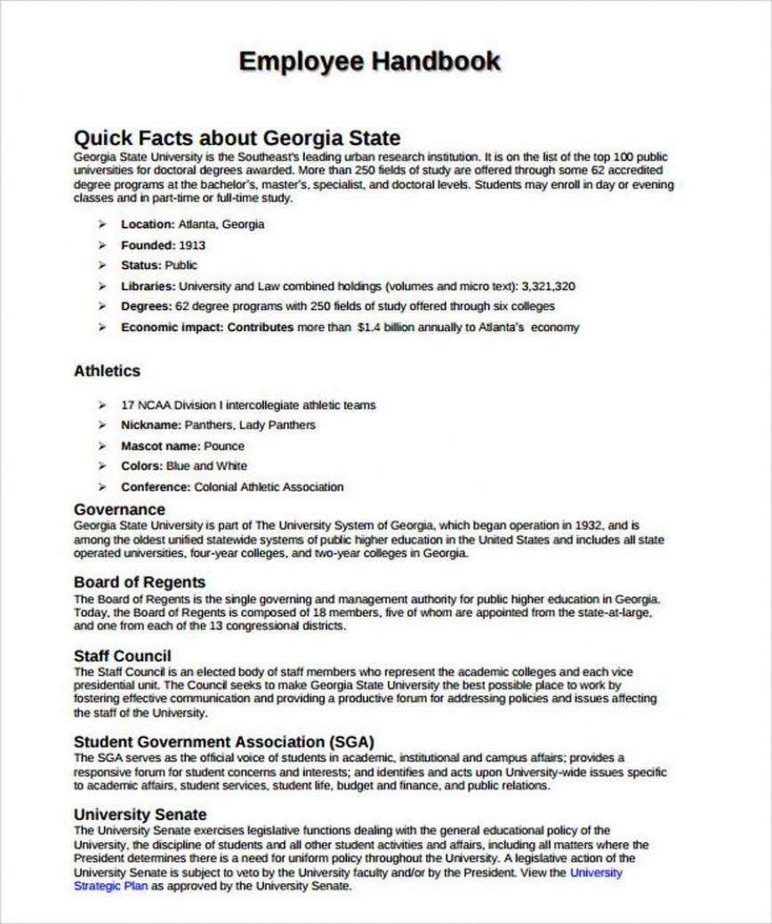 Sample Employee Handbook Pdf