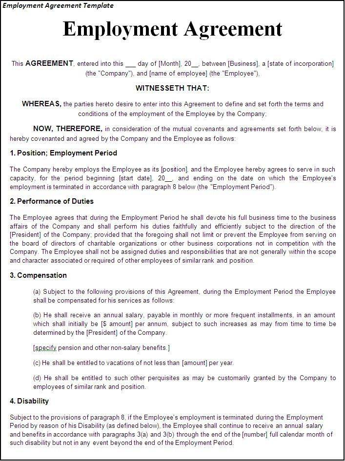 Sample Employment Contract Form