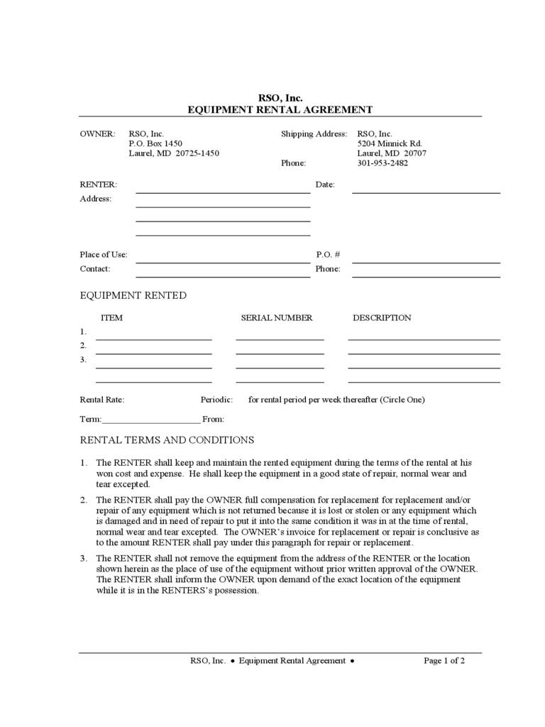 Sample Equipment Lease Agreement Template