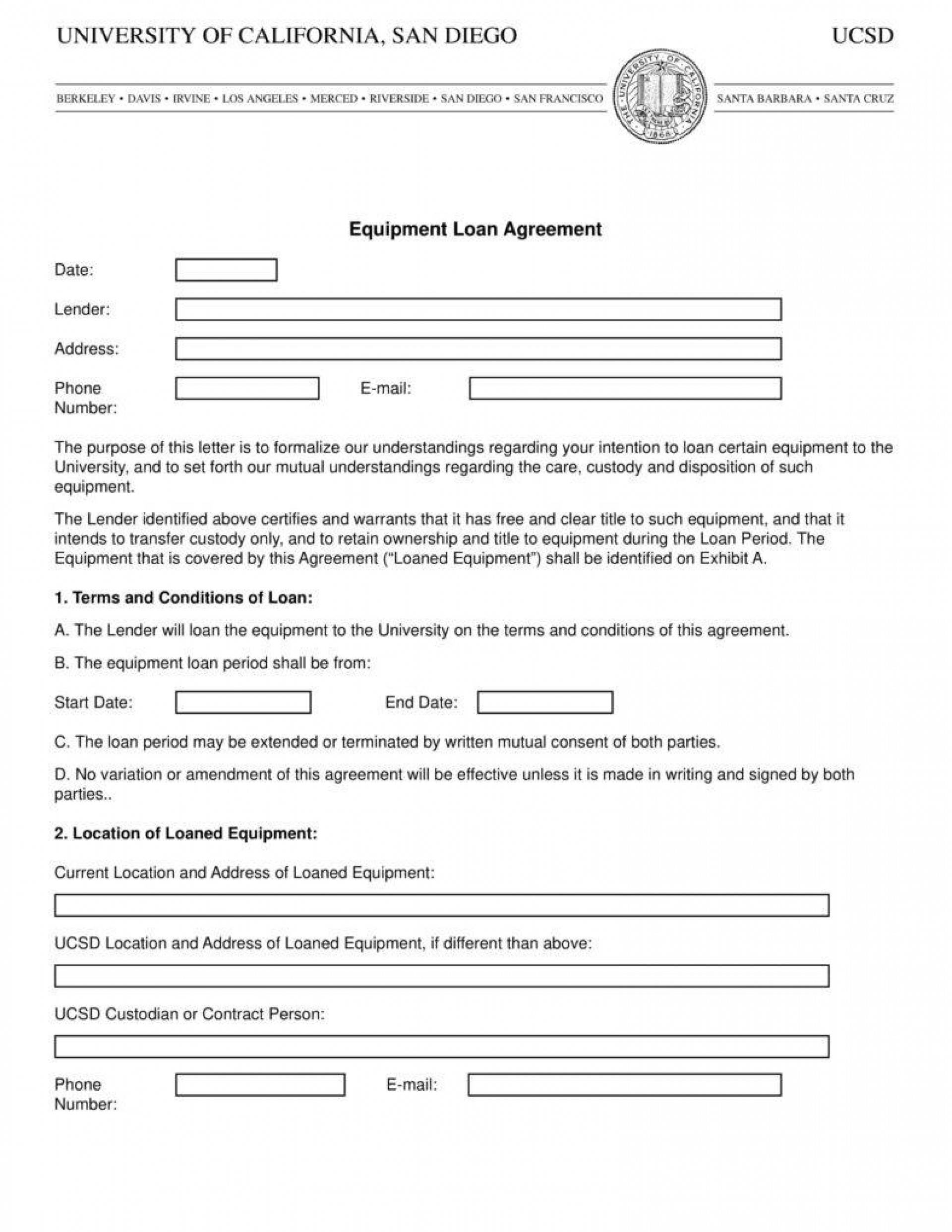 Sample Equipment Loan Agreement Template