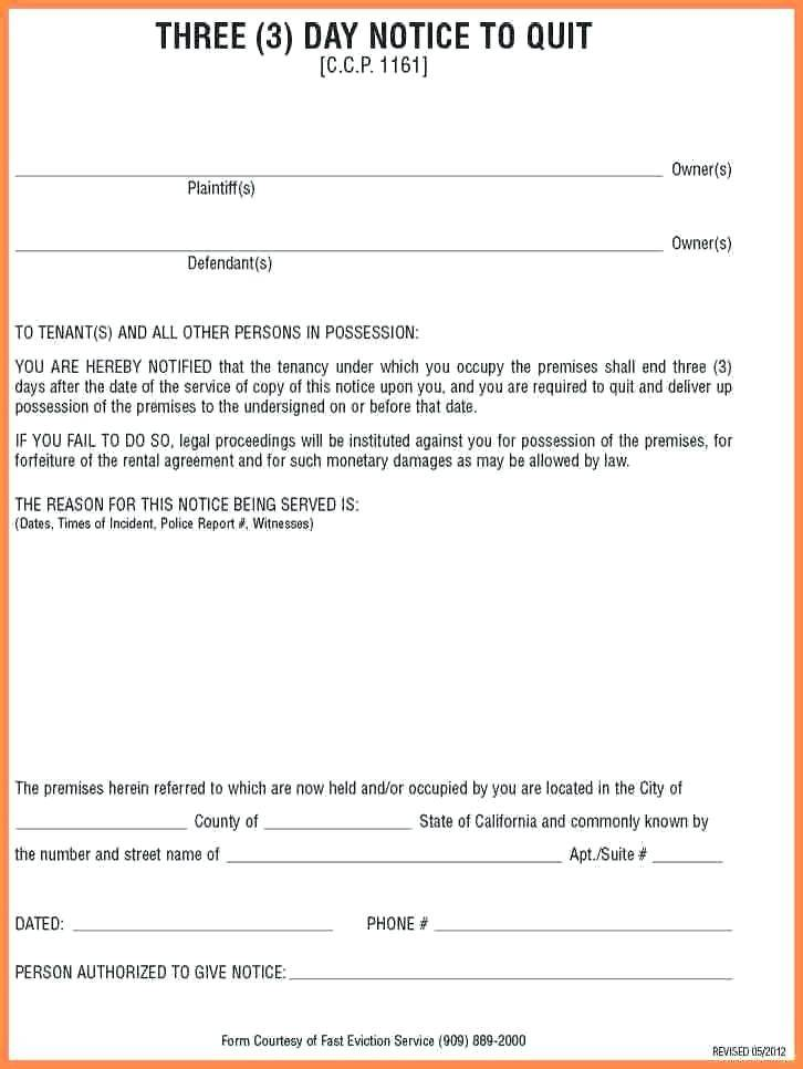 Sample Eviction Notice For Roommate