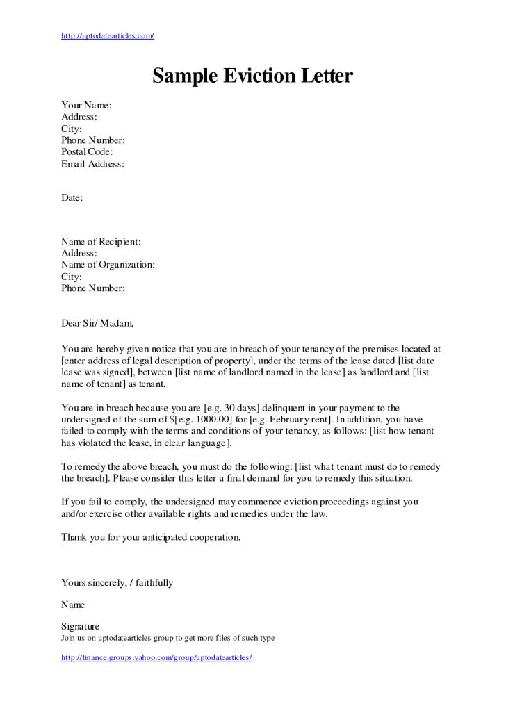 Sample Eviction Notice Letter