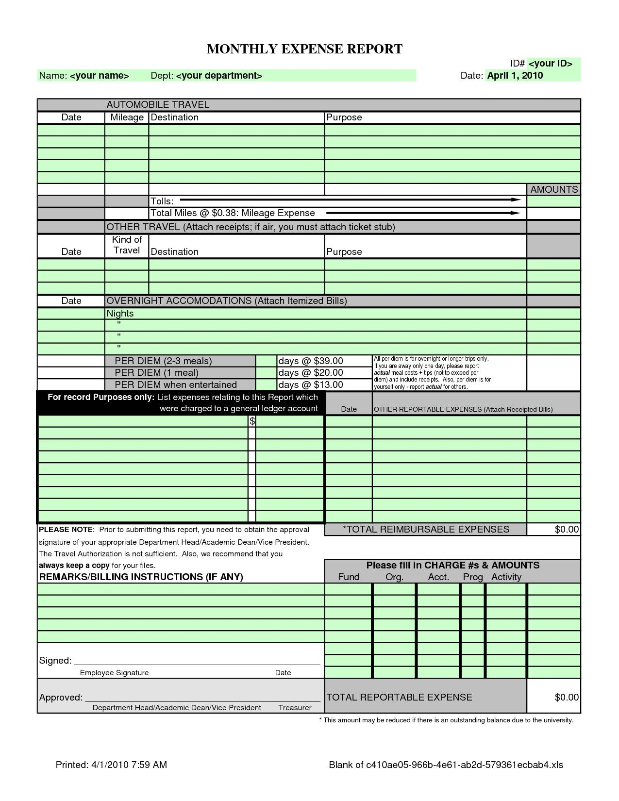 Sample Expense Report Template Excel