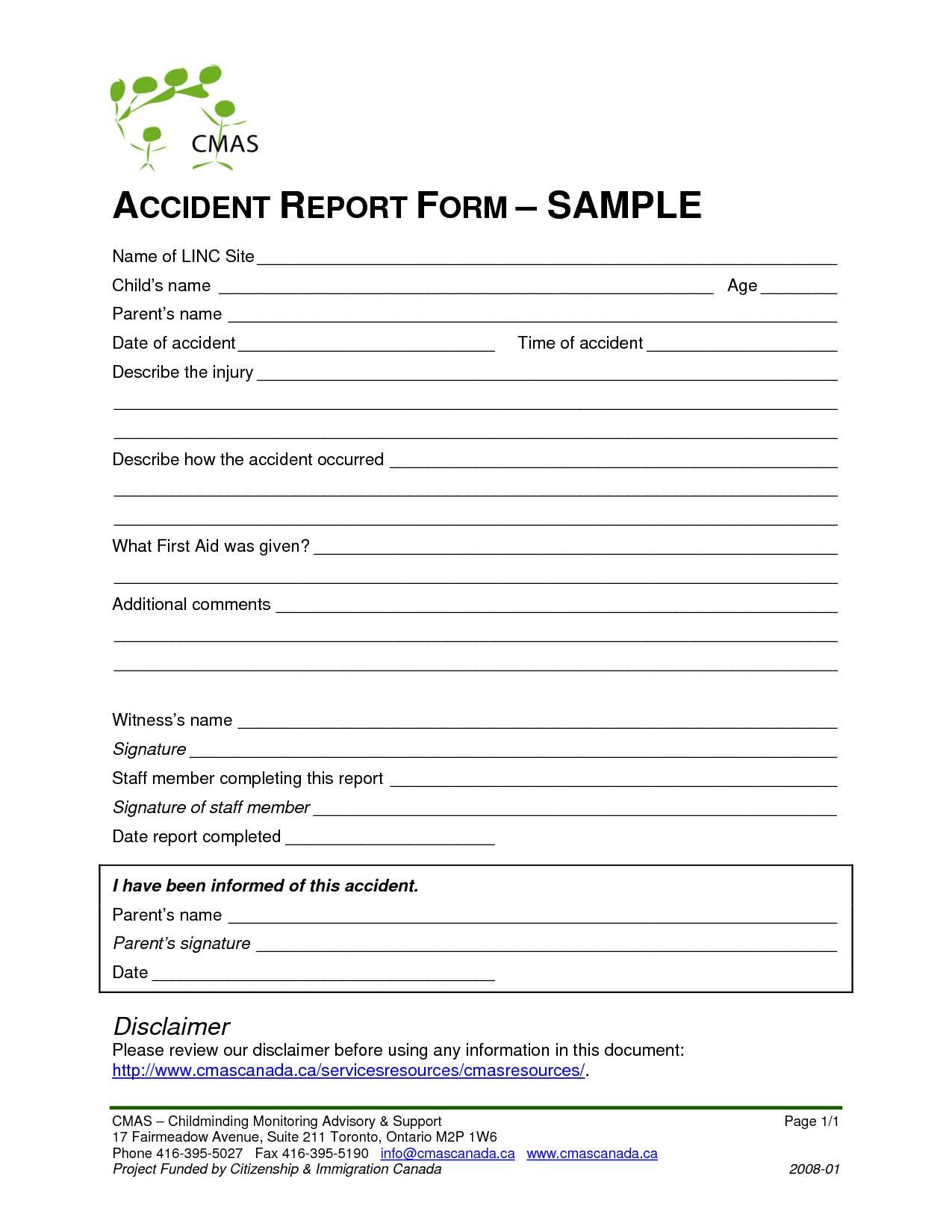 Sample Incident Investigation Report Form