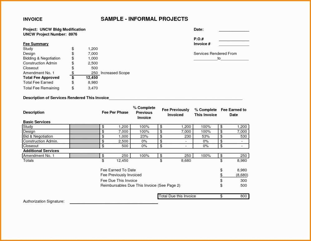 Sample Invoice Template For Services Rendered