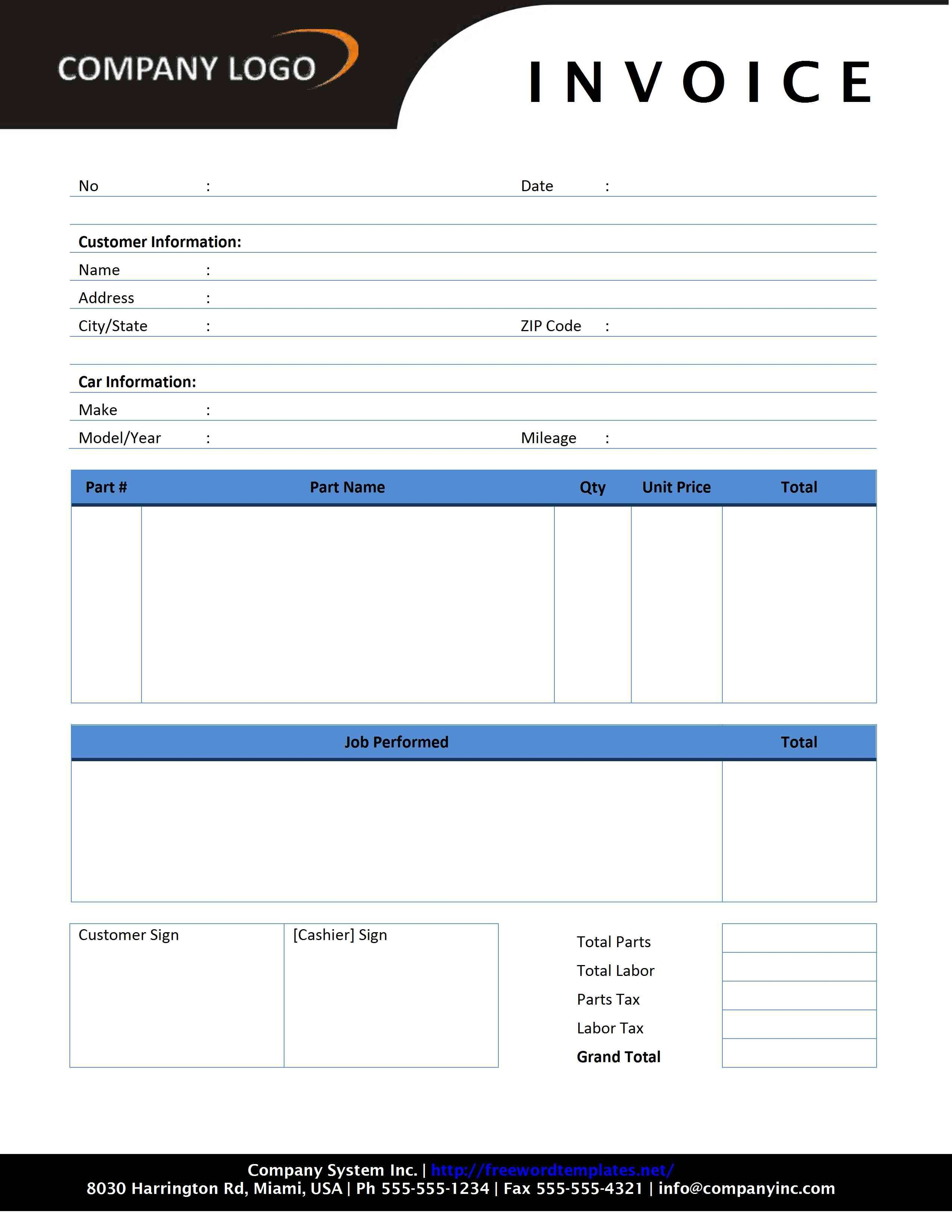 Sample Invoice Template Word Download