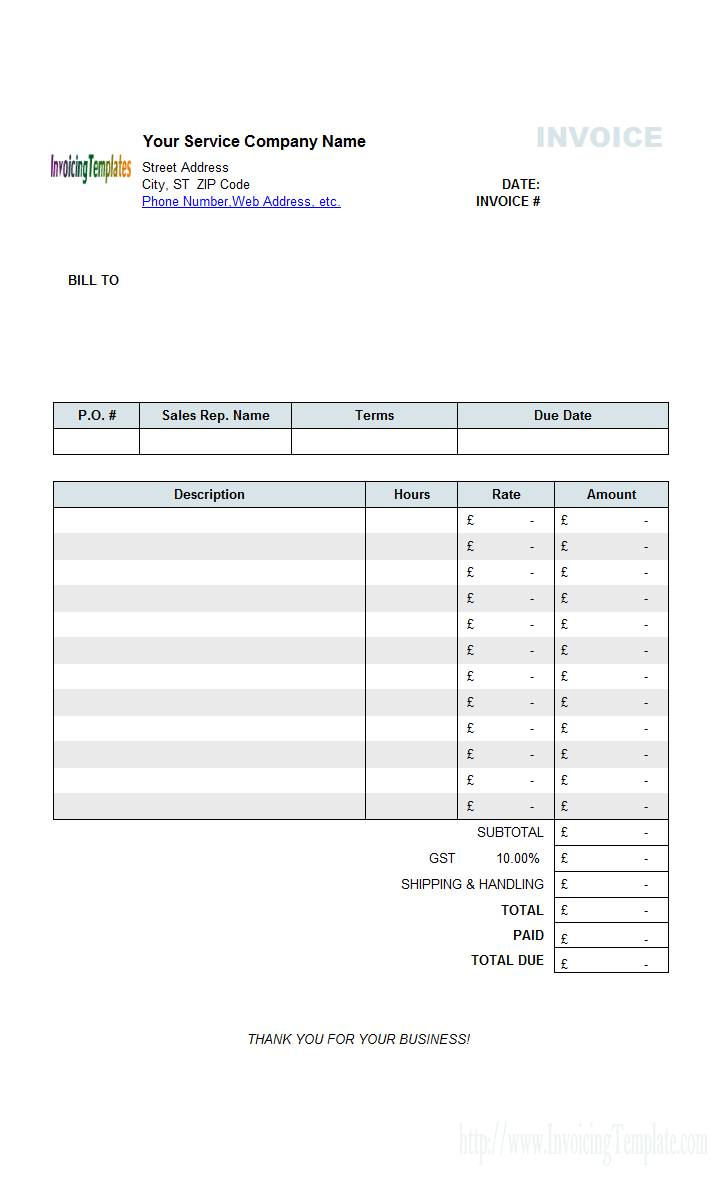 Sample Invoice Template Word Uk