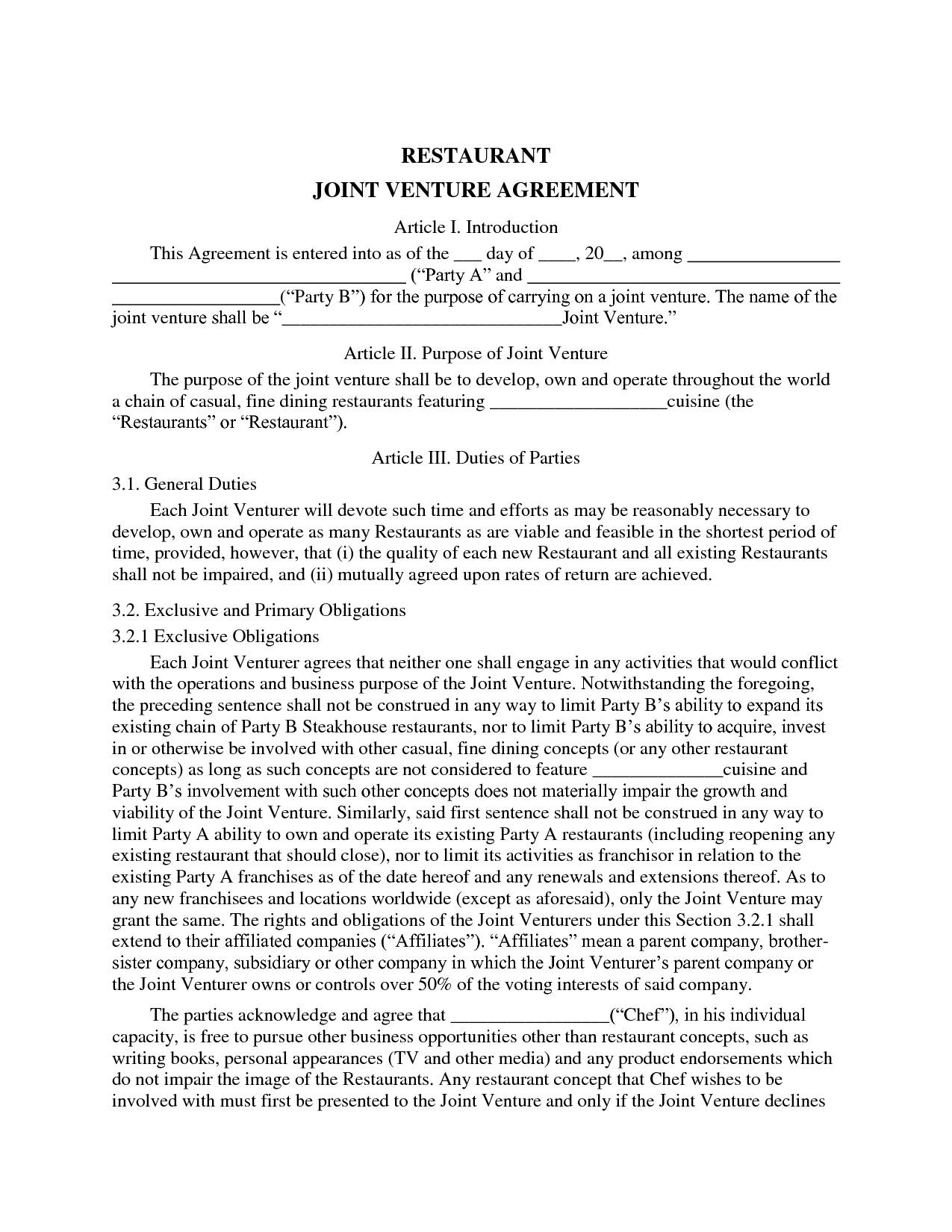 Sample Joint Venture Agreement Australia