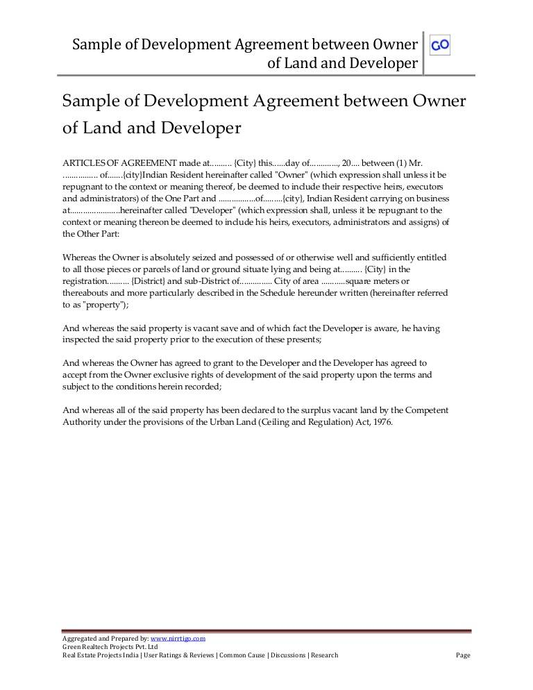 Sample Joint Venture Agreement Between Landowner And Developer Philippines