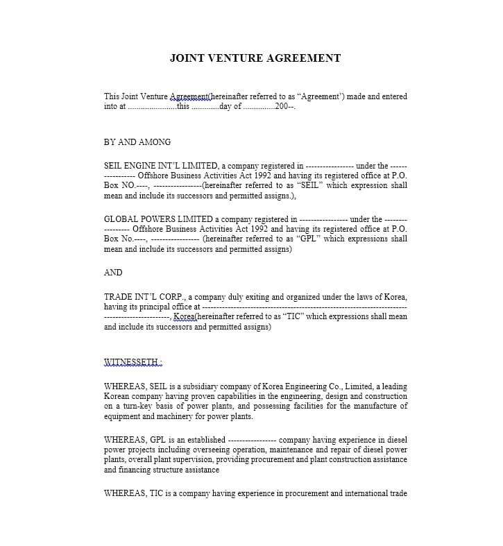 Sample Joint Venture Agreement For Construction In India