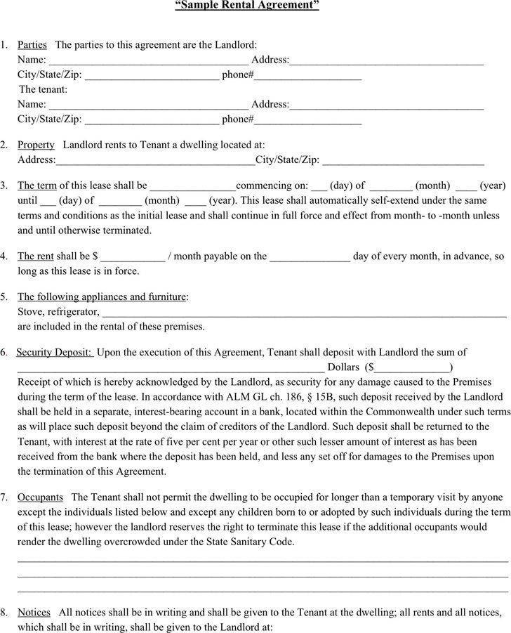 Sample Lease Agreement Template