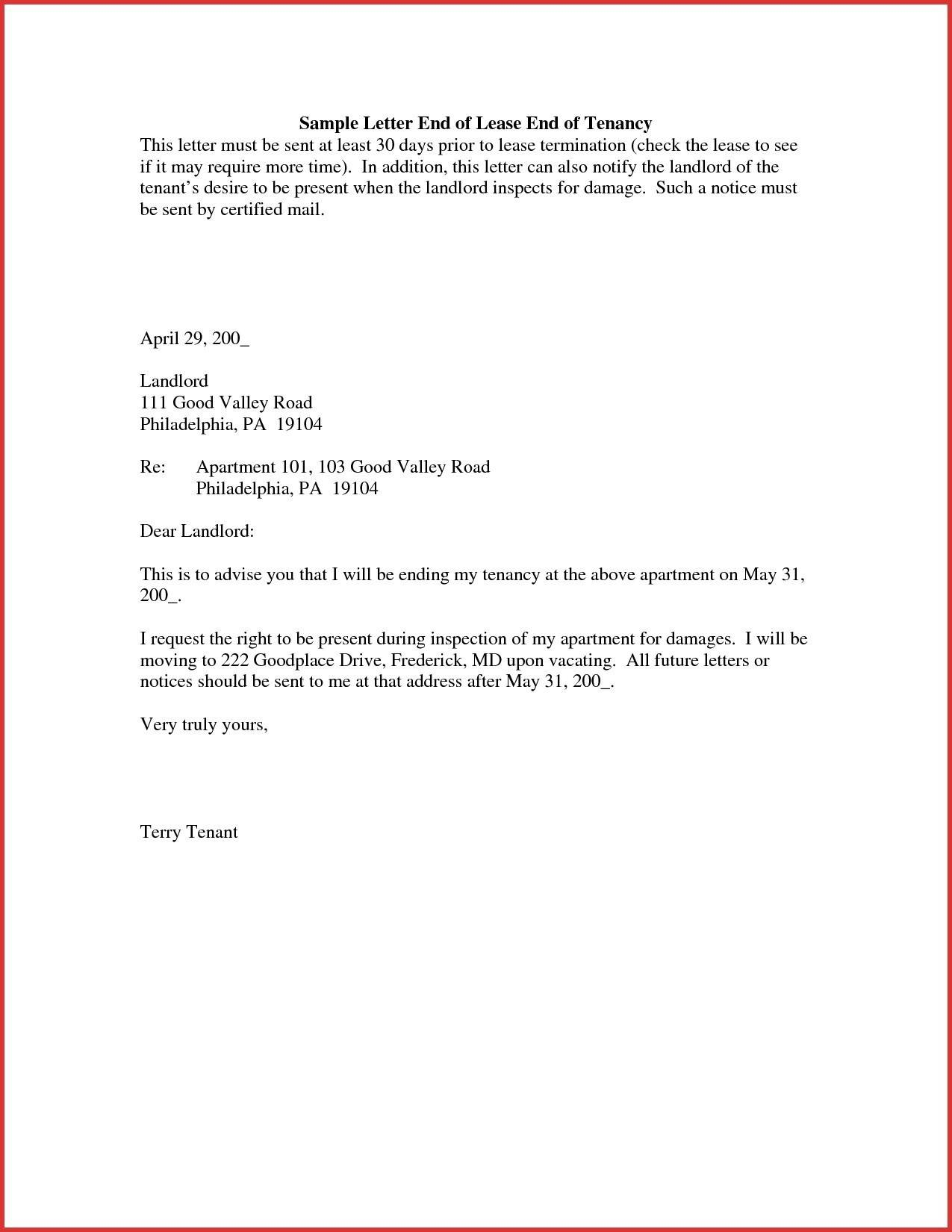 Sample Letter Giving Notice To End Tenancy
