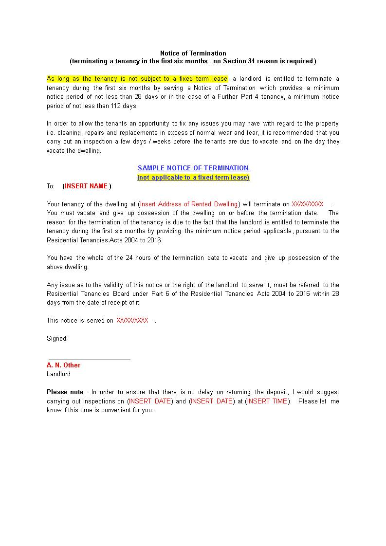 Sample Letter Notice To Quit Tenancy